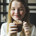 Youth Woman Drinks Hot Chocolate Tasty Concept Royalty Free Stock Photo