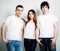 Youth. Young People Students Wearing White Empty T-Shirt Royalty Free Stock Photo