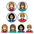 Youthful avatars diverse group of and colorful vector in a simplistic style Stock Photography