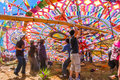 Youths raising a giant kite, All Saints' Day, Guatemala Royalty Free Stock Photo