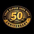 50 years anniversary celebration. 50th anniversary logo design. Fifty years logo.