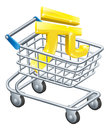 Yuan money trolley concept currency of sign in a supermarket shopping cart or Stock Photo