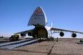 An in yubileiny airport russian volga dnepr antonov long range heavy transport plane during preparation for offloading of baikonur Stock Image