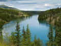 Yukon river north of whitehorse yukon t canada just territory a major stream and waterway in alaska and the Stock Images