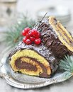 Yule log traditional christmas dessert Stock Photography
