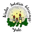 Yule winter solstice day greeting card.