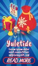 Yuletide concept banner, comics isometric style
