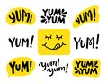 Yum Yum words set. Printable graphic tee. Design doodle for print. Vector Colorful Cartoon style. Royalty Free Stock Photo
