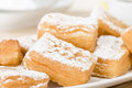 Yum yum sweet toffee flavoured fried pastry dusted with icing sugar Royalty Free Stock Photo