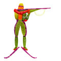 Yummy biathlon fruits and vegetables in the shape of a biathlete with a rifle in a standing position Royalty Free Stock Images