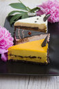 Yummy cakes with various topping three pieces of cheesecakes on plate closeup studio photo Royalty Free Stock Images