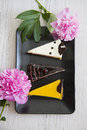 Yummy cakes with various topping three pieces of cheesecakes on plate closeup studio photo Royalty Free Stock Photography
