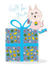 Yummy cat gift for you illustration of love dessert many in box and want share with Royalty Free Stock Photos