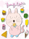 Yummy cat yummy food illustration of love the foods Stock Photo