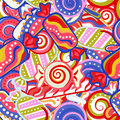 Yummy colorful sweet lollipop candy cane seamless pattern. Vector illustration. Holidays background.