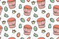 Easter cakes seamless pattern