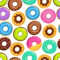 Yummy glazed cakes chocolate donuts vector seamless pattern