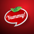 Yummy label or speech bubble vector Stock Photography
