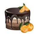 Yummy layered cake with oranges