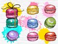 Yummy macarons vector set isolated. Colorful macarons collection. Hand drawn vector illustration.