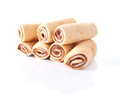 Yummy rolled cakes with milky cocoa filling Royalty Free Stock Photos