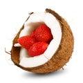 Yummy strawberry in coconut Stock Photos