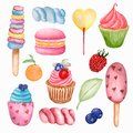 Yummy sweet food seamless pattern. Watercolor illustration Lollipops, cupcake, macaroon,berry, marshmallows, ice cream and orange
