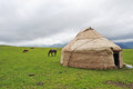 Yurt in the grassland yurts mongolians it is also known as zhanfang located xinjiang china Royalty Free Stock Photos