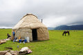 Yurt in the grassland yurts mongolians it is also known as zhanfang located xinjiang china Royalty Free Stock Image
