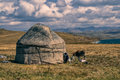 Yurts in kyrgyzstan traditional yurt of nomadic tribe on green grasslands Stock Photos