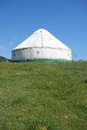 Yurts under blue sky mongolians it is also known as zhanfang located in xinjiang china Royalty Free Stock Images