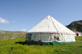 Yurts under blue sky mongolians it is also known as zhanfang located in xinjiang china Stock Photography