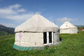 Yurts under blue sky mongolians it is also known as zhanfang located in xinjiang china Royalty Free Stock Photo