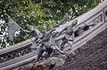 Yuyuan garden chinese warriors figures on roof in in shanghai china Royalty Free Stock Photography