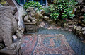 Yuyuan garden stone lion statues and floor mosaic in in shanghai china Stock Image