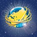 Złoci pierścionki wokoło planety earth vector illus Zdjęcie Royalty Free