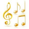 Złociste ikony treble clef i muzyk notatki Zdjęcia Royalty Free