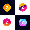 Z letter vector company icon signs flat symbols logo set Royalty Free Stock Photo