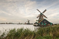 Zaanse schans traditional dutch windmills at vintage look Stock Photo