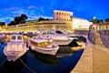 Zadar city walls and Fosa harbor evening panorama Royalty Free Stock Photo
