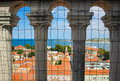 Zadar croatia old town red roofs top view st donat church from tower by historic columns of balustrade with metal grating on Royalty Free Stock Photos