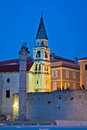 Zadar landmarks evening vertical view Royalty Free Stock Photo
