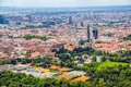 Zagreb aerial view croatia may city center from helicoper with cathedral bishop s palace and recreational water complex salata on Stock Photography