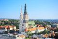 Zagreb cathedral aerial view on a in the bright sunny day Stock Photography