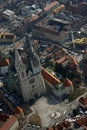 Zagreb Cathedral from airplane Royalty Free Stock Images