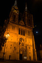 Zagreb Cathedral at night.
