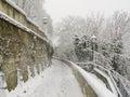 ZAGREB, CROATIA - FEBRUARY 2015: Snow covered path in Zagreb in Croatia. Royalty Free Stock Photo