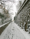ZAGREB, CROATIA - FEBRUARY 2015: Snow covered paths and steps in the old part of Zagreb. Royalty Free Stock Photo