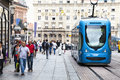 Zagreb croatia street crowd and tram in the historic center of the city with the population tourists Stock Photo