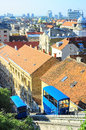 Zagreb funicular skyline of with its metre track makes it one of the shortest public transport funiculars in the world Royalty Free Stock Photography